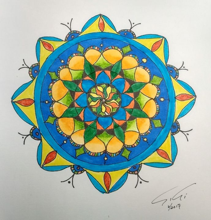 Mandala coccinnelle - Drawing,  23x23 cm ©2017 by Ginette Richard -                                                            Abstract Art, Paper, Abstract Art, mandala, coccinnelle
