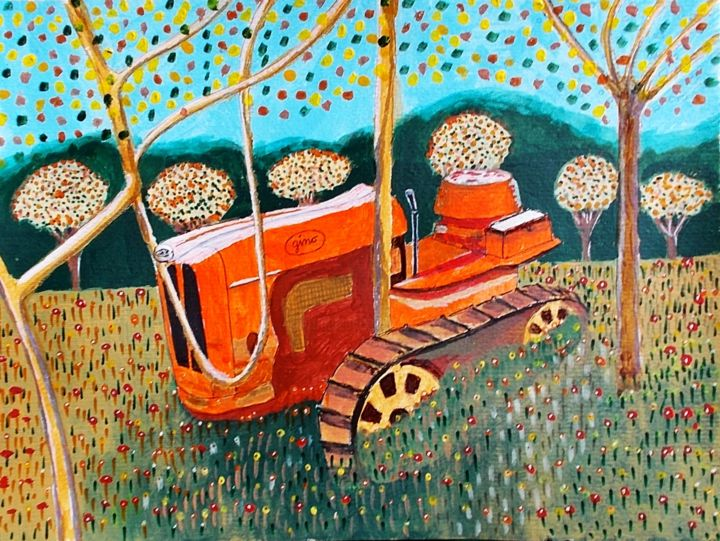 Painting, acrylic, naive art, artwork by Gino Gavazzi
