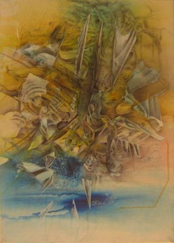 Tzunami - Painting,  27.6x19.7 in, ©2005 by Gino Loperfido -