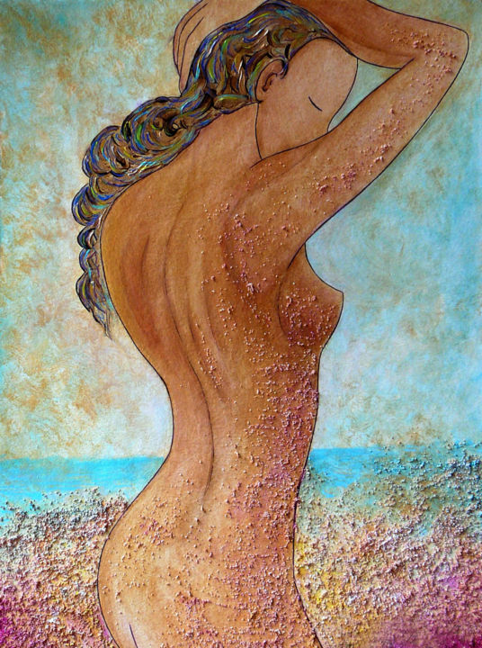 """""""Colors and Sand"""" Divine nude collection - © 2015 sand painting, artistic nude, nude art, woman nude, woman behind, womanhood, divine feminine art, art collection, nude collection, woman nude wollection Œuvres-d'art en ligne"""