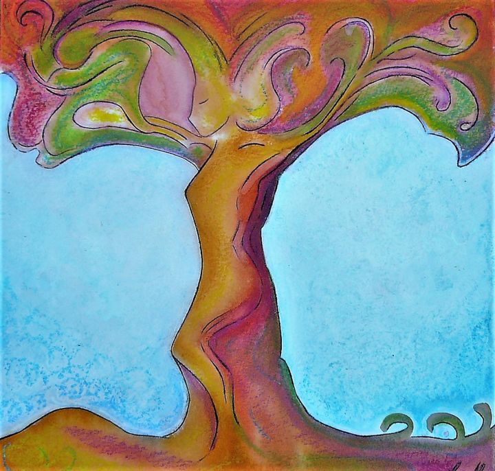 Tree's soul, healing art - Peinture,  25x25 cm ©2016 par Gioia Albano -                                                                                                                                                                                                Art nouveau, Peinture contemporaine, Fauvisme, Art figuratif, Populaire, Illustration, Art naïf, Art Brut / Outsider Art, Autre, Papier, Nature, Saisons, Arbre, Femmes, woman tree, tree of life, dryad, womanhood art, womanhood, trees, tree soul