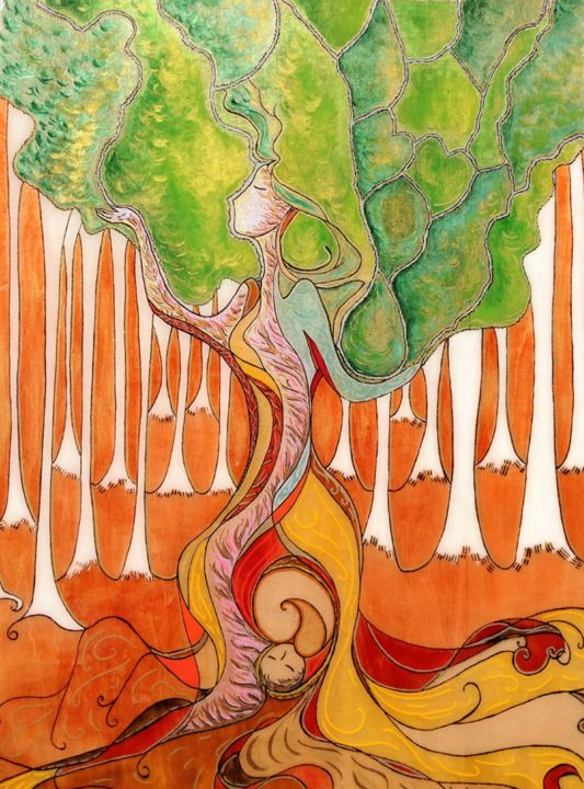 In the deepest roots (Woman tree) - Pittura,  23,6x17,7x0,2 in ©2017 da Gioia Albano -                                                                                                                                Art Nouveau, Pittura contemporanea, Fauvismo, Popolare, Natura, Donne, Albero, Bambini, Spiritualità, womanhood, trees, woman tree, tree of life, birth art, large painting, resin painting, painting on wood, wooden art, pyrography, woman image, mothers, mother and baby, arbre de vie, féminin divin, femme arbre