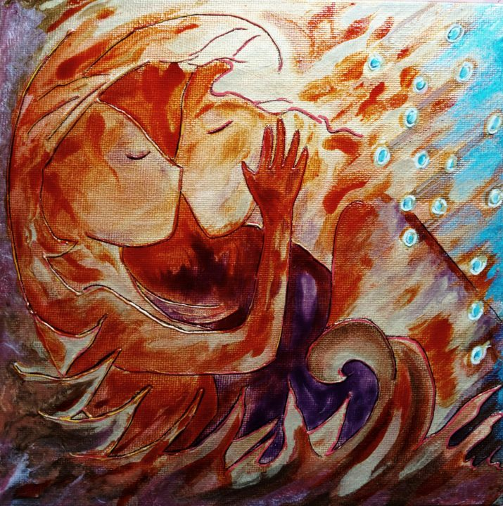In my fire - Peinture,  7,9x7,9x0,2 in, ©2018 par Gioia Albano -                                                                                                                                                                                                                                                                                                                                                                                                                                                                                                                                                                                                                                                                                                                                                                                                                                                                                                              Fauvism, fauvism-942, Famille, Fantastique, Amour / Romance, Femmes, couple, valentine, healing art, fire, elements, fire element, five elements, lovers, kiss, red painting, small painting, womanhood art, art for women
