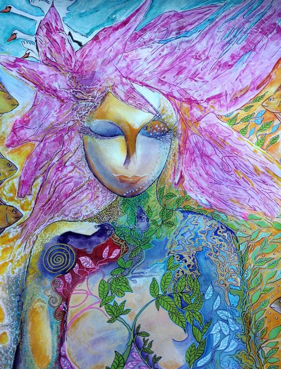 My home - © 2018 healing art, art de guerison, feminin, poissons, nature, collage, cheveux rose, femme, femmes, women, woman, pink hair, fishes, swan Œuvres-d'art en ligne