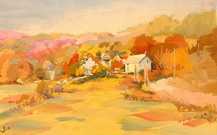 """Painting titled """"Vue sur Morvan, Ano…"""" by Gio, Original Art, Gouache"""