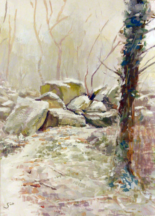 """Painting titled """"Rochers eneigés"""" by Gio, Original Art, Gouache"""