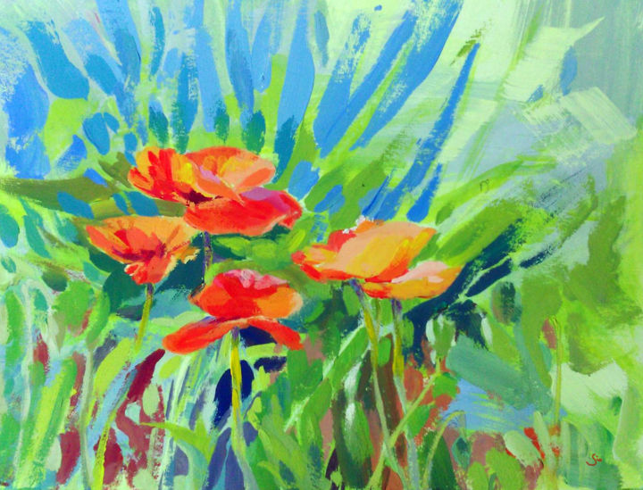 """Painting titled """"Coquelicots"""" by Gio, Original Art, Gouache"""