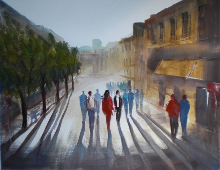 People Walking In An Imaginary City Painting By Giorgio
