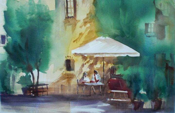 """Painting titled """"In the garden"""" by Giorgio Gosti, Original Art, Watercolor"""