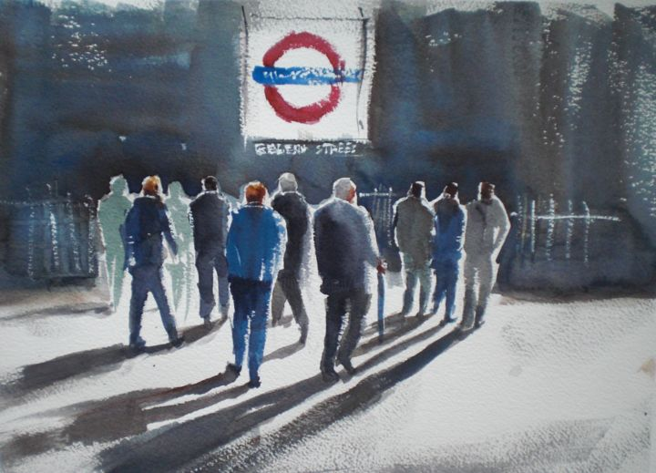 London metro station - Painting,  9.8x13.8x0.4 in, ©2017 by Giorgio Gosti -                                                                                                                                                                                                                                                                                                                  Expressionism, expressionism-591, Cityscape, London, metro, cityscape