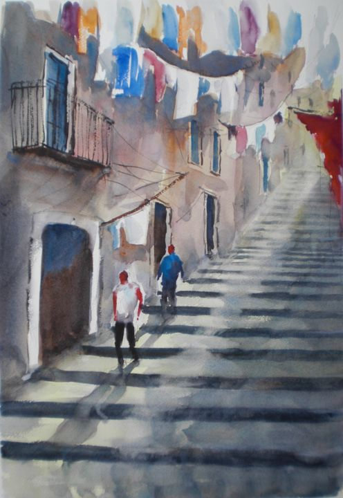 hanging clothes - Painting,  47x32x1 cm ©2018 by Giorgio Gosti -                                                            Impressionism, Paper, Cityscape, street scene