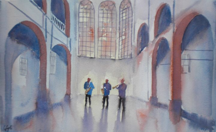 band in the church - Painting,  29x48x1 cm ©2018 by Giorgio Gosti -                                            Impressionism, People, band, church