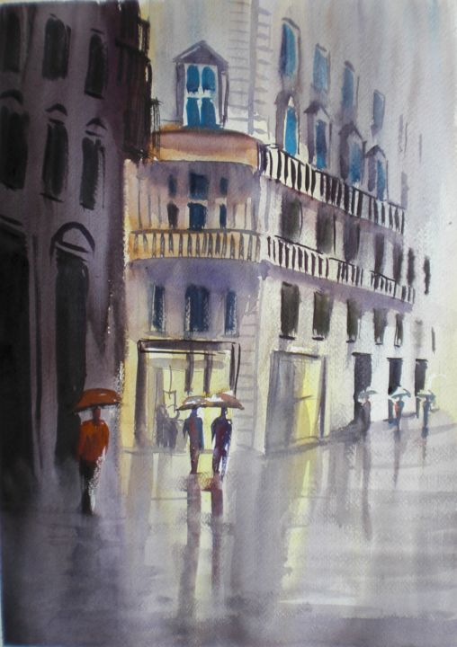 walking in a rainy day 3 - Painting,  18.1x12.6x0.4 in, ©2018 by Giorgio Gosti -                                                                                                                                                                                                                                                                      Impressionism, impressionism-603, Cityscape, cityscape, street scene