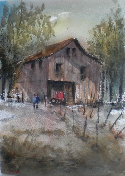 old barn - Painting,  18.9x13.8x0.4 in, ©2018 by Giorgio Gosti -                                                                                                                                                                                                                                                                                                                                                              Impressionism, impressionism-603, Landscape, barn, countryside, tractor, landscape