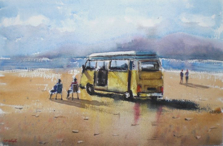 relax on the beach - © 2018 VW bus, car, seaside Online Artworks