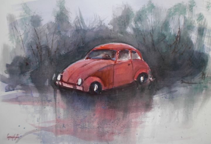 beetle car 2 - Painting,  32x46x1 cm ©2018 by Giorgio Gosti -                                                            Impressionism, Paper, Car, car, beetle car