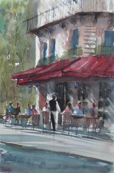 Parisian cafè 3 - © 2018 Paris, cityscape, cafe Online Artworks