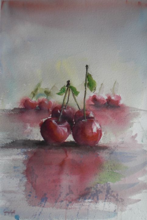 cherries - © 2018 still life, cherries Online Artworks