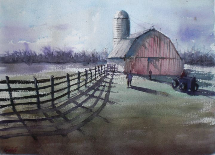 old barn 2 - © 2018 barn, countryside, farmers Online Artworks