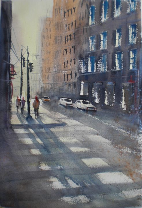 shadows in NYC - Painting,  48x34x1 cm ©2018 by Giorgio Gosti -                                                            Impressionism, Paper, Cityscape, New York, cityscape, shadows