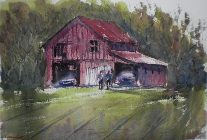 old barn 3 - Painting,  12.6x18.5x0.4 in, ©2018 by Giorgio Gosti -                                                                                                                                                                                                                                                                                                                                                              Impressionism, impressionism-603, Landscape, countryside, old barn, farmers, cars
