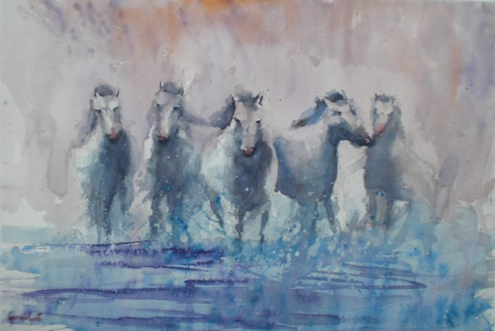 horses 3 - Painting,  12.6x18.5x0.4 in, ©2018 by Giorgio Gosti -                                                                                                                                                                                                                                                                                                                                                              Impressionism, impressionism-603, Horses, horse, wild, animal, beachside