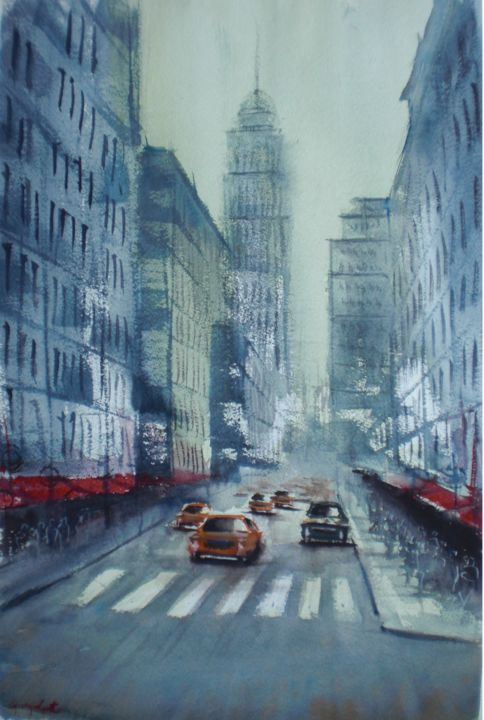 yellow cabs in New York 5 - © 2018 New York, cityscape Online Artworks
