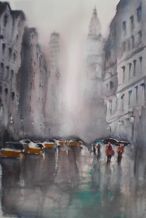 yellow cabs in New York 6 - Painting,  50x34x1 cm ©2018 by Giorgio Gosti -                                                            Impressionism, Paper, Cityscape, New York, cityscape