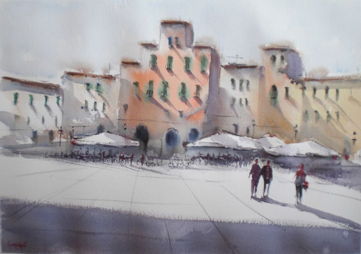 Anfiteatro square - Lucca - © 2018 Lucca, Italy, cityscape Online Artworks