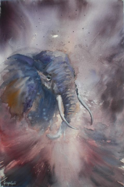 elephant - Painting,  54x34x1 cm ©2018 by Giorgio Gosti -                                                            Impressionism, Paper, Animals, elephant, Africa, animal