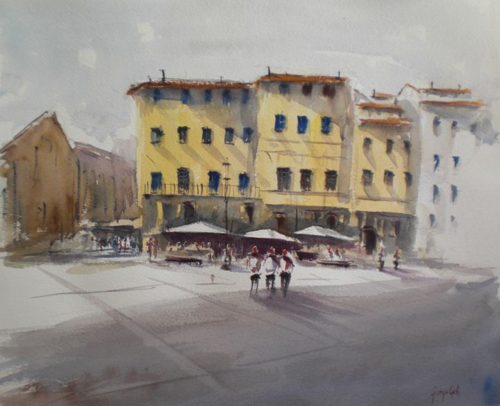 Santa Croce square - Florence - Painting,  43x53x1 cm ©2018 by Giorgio Gosti -                                                            Impressionism, Paper, Cityscape, Santa Croce, Florence, cityscape