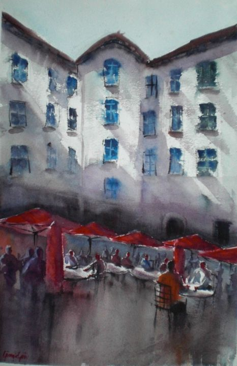 red umbrellas - Painting,  20.9x13.4x0.4 in, ©2018 by Giorgio Gosti -                                                                                                                                                                                                                                                                                                                  Impressionism, impressionism-603, Cityscape, cafè, red umbrellas, cityscape