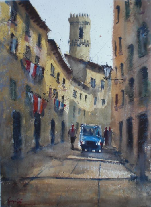 ape car 2 - Painting,  51x35x1 cm ©2018 by Giorgio Gosti -                                                            Impressionism, Paper, Cityscape, village, tuscany, ape car, cityscape