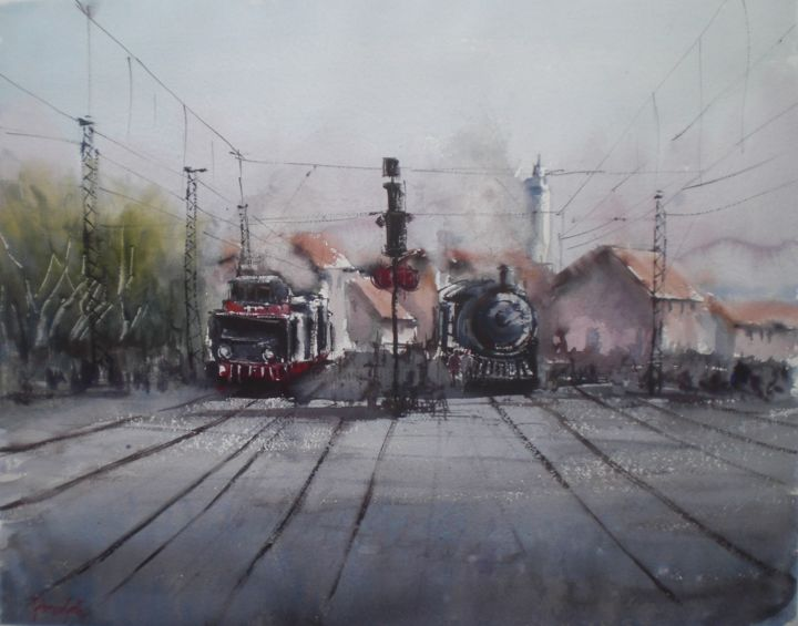 Trains - Painting,  42x54x1 cm ©2018 by Giorgio Gosti -                                                            Impressionism, Paper, Train, train, transportation