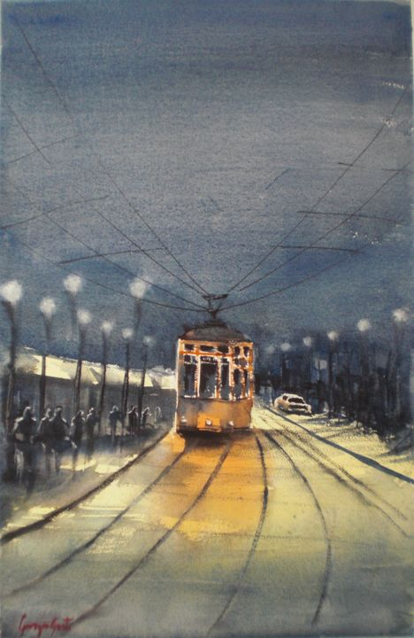 tram in Milan 10 - Painting,  53x34x1 cm ©2018 by Giorgio Gosti -                                                            Impressionism, Paper, Cityscape, tram, Milan, cityscape