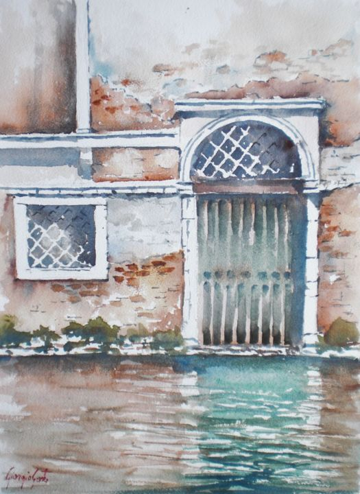 Venice 56 - Painting,  35x25x1 cm ©2018 by Giorgio Gosti -                                                            Impressionism, Paper, Architecture, door, Venice, architecture