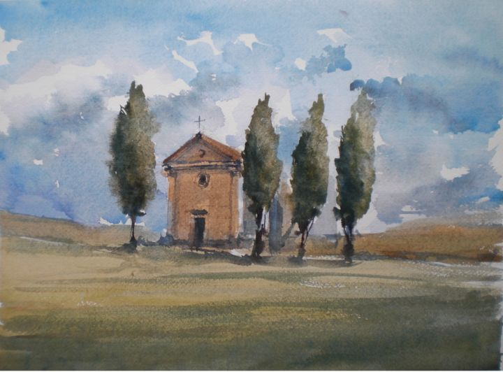 Tuscan countryside 1 - Painting,  28x38x1 cm ©2018 by Giorgio Gosti -                                                            Impressionism, Paper, Landscape, Tuscany, landscape