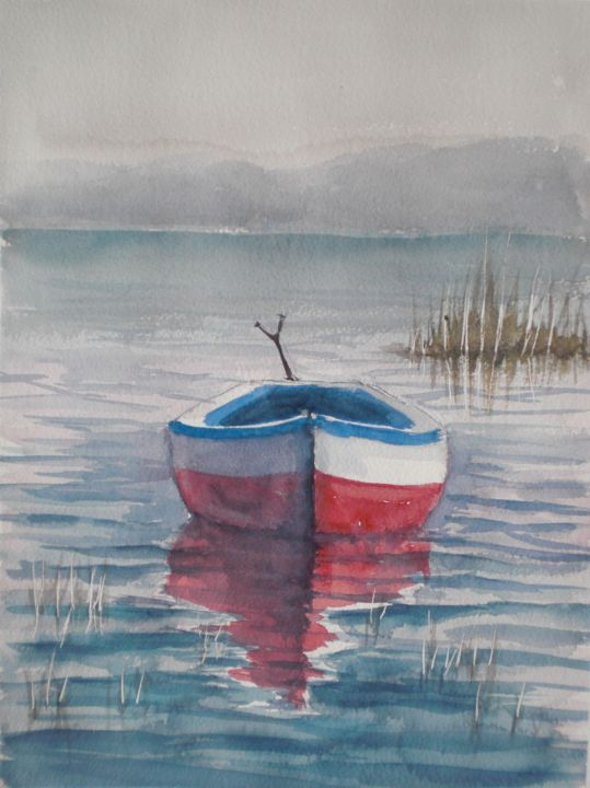 boat in a quiet lake - © 2018 boat, lake Online Artworks