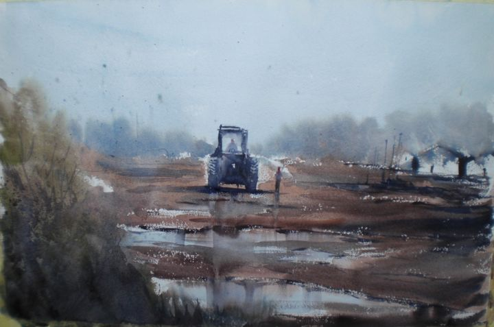the tractor 4 - Painting,  35x53x1 cm ©2019 by Giorgio Gosti -                                                            Impressionism, Paper, Rural life, countryside, rural life, tractor