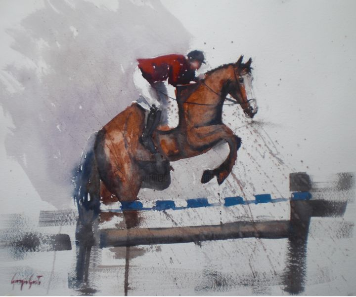 horses 4 - Painting,  43x53x1 cm ©2019 by Giorgio Gosti -                                                            Impressionism, Paper, Horses, horse, animal, jumping