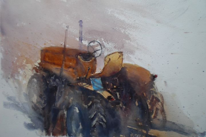 the tractor 5 - Painting,  35x53x1 cm ©2019 by Giorgio Gosti -                                                            Impressionism, Paper, Agriculture, tractor, countryside