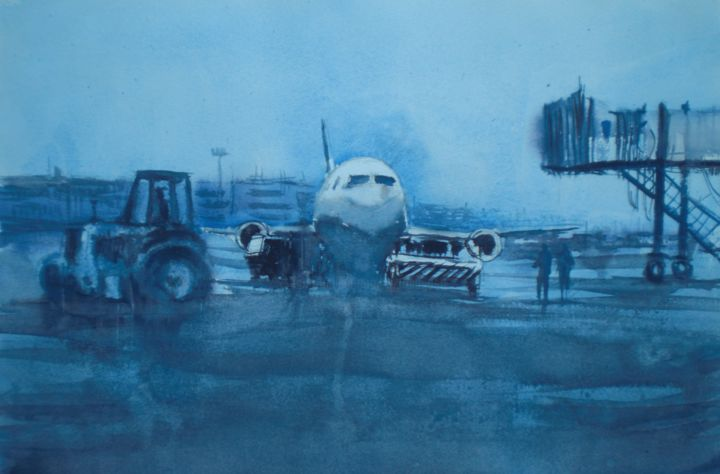 airport - Painting,  35x53x1 cm ©2019 by Giorgio Gosti -                                            Impressionism, Airplane, airport, airplane, blue