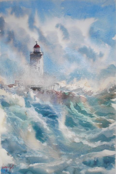 lighthouse 4 - Painting,  20.9x13.8x0.4 in, ©2019 by Giorgio Gosti -                                                                                                                                                                                                                                                                      Impressionism, impressionism-603, Seascape, seascape, lighthouse