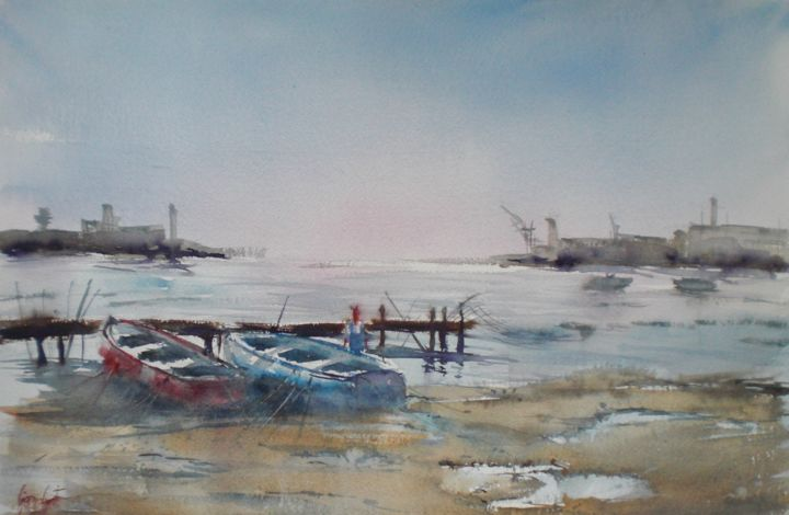 boats 26 - Painting,  13.8x20.9x0.4 in, ©2019 by Giorgio Gosti -                                                                                                                                                                                                                                                                      Impressionism, impressionism-603, Seascape, seascape, boats