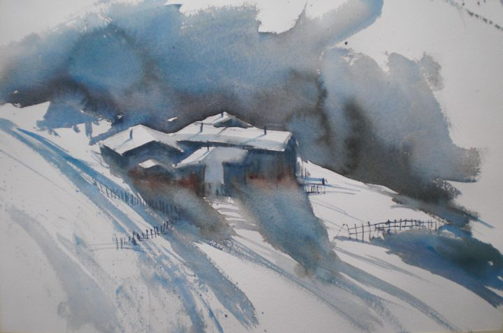 chalet in the snow - Painting,  13.8x20.9x0.4 in, ©2020 by Giorgio Gosti -                                                                                                                                                                                                                                                                                                                  Impressionism, impressionism-603, Landscape, chalet, snow, mountain