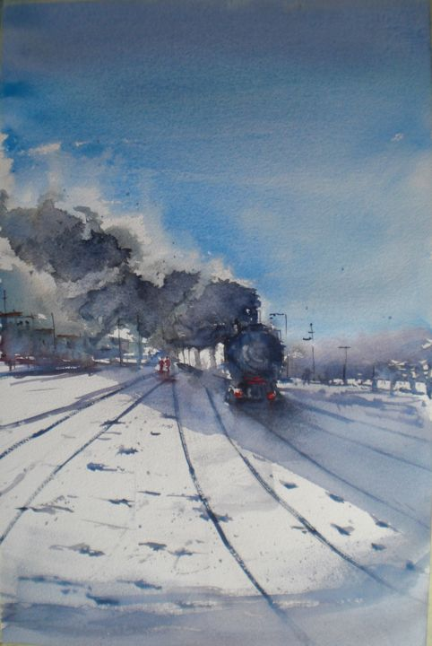 trains 17 - Painting,  20.9x13.8x0.4 in, ©2020 by Giorgio Gosti -                                                                                                                                                                                                                                                                      Impressionism, impressionism-603, Train, train, winterscape