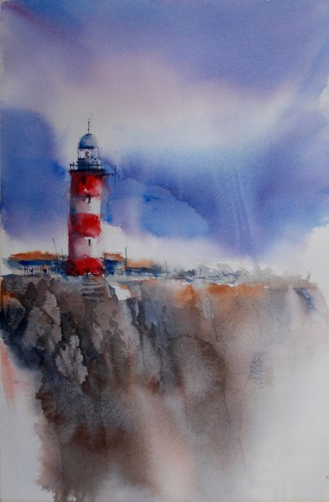 """Painting titled """"lighthouse 19"""" by Giorgio Gosti, Original Art, Watercolor"""