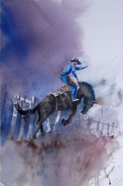 """Painting titled """"cowboy 4"""" by Giorgio Gosti, Original Art, Watercolor"""