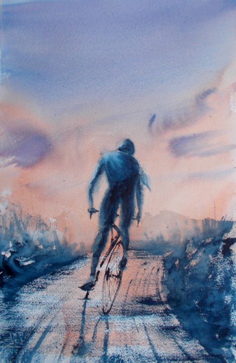 """Painting titled """"cycling 4"""" by Giorgio Gosti, Original Art, Watercolor"""