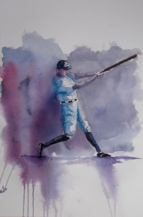 """Painting titled """"baseball player 7"""" by Giorgio Gosti, Original Art, Watercolor"""